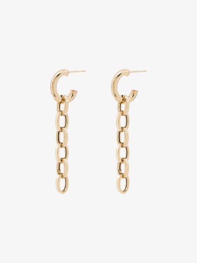 10K yellow gold chain drop earrings