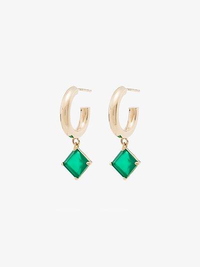 10K yellow gold Melrose agate hoop earrings