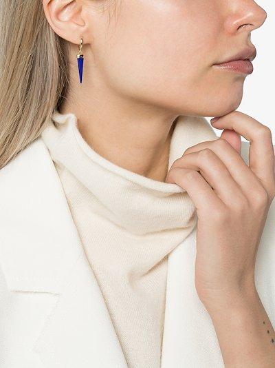 14K yellow gold blue lapis earrings