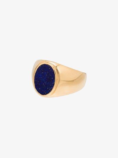 14K yellow gold lapis lazuli signet ring
