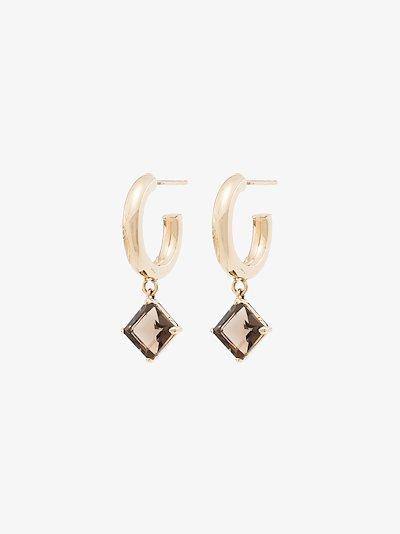 14K yellow gold Melrose quartz hoop earrings