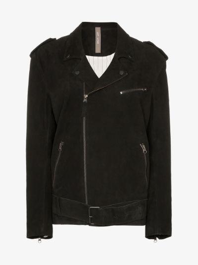 belted suede biker jacket