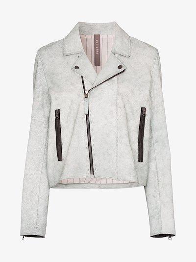 zipped suede leather biker jacket