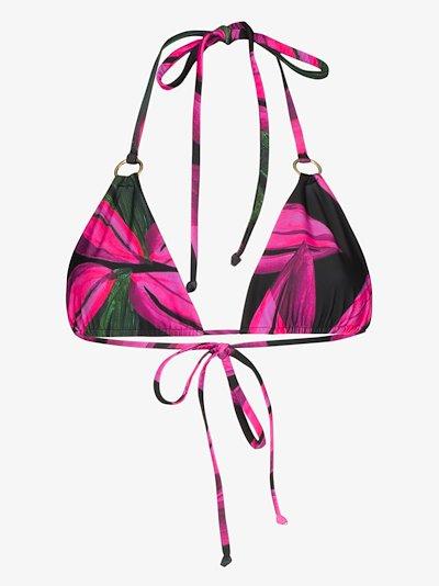 Floral print triangle bikini top