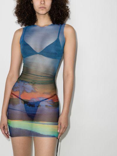 Heatwave ruched mesh mini dress