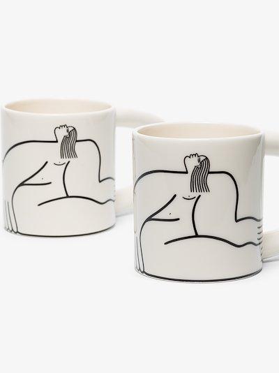 White Dreamer porcelain mug set