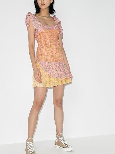 Aya smocked Cotton Mini Dress