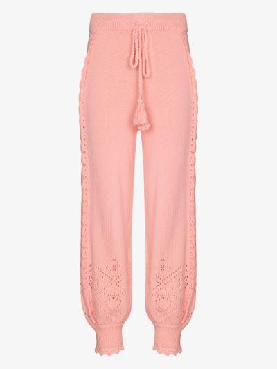 Nyla Pointelle Knit Track Pants