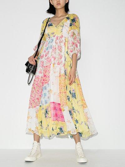 Roslyn patchwork floral silk dress
