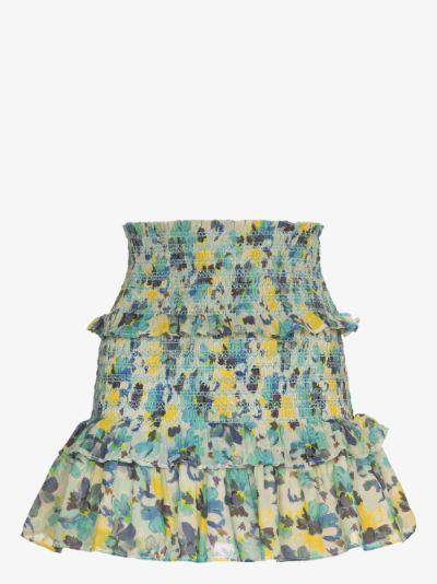 Sicily ruffled print mini skirt