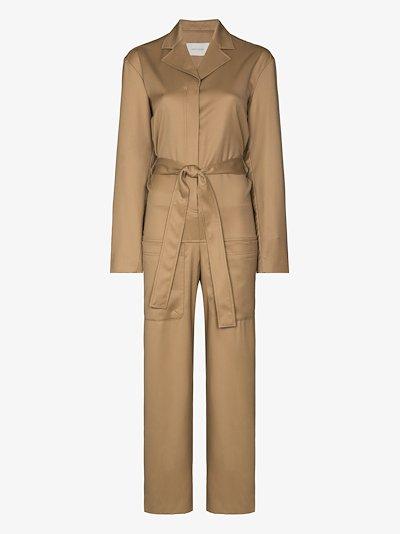 tie waist wool jumpsuit
