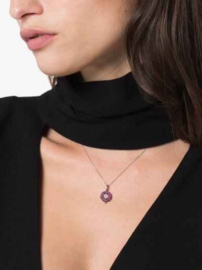 18K white gold mini reverso sapphire pendant necklace
