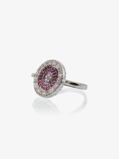 18K white gold reverso diamonds and sapphire ring