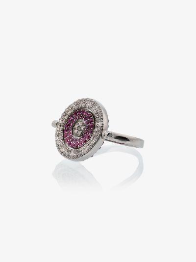 18K white gold reverso rounded sapphire ring