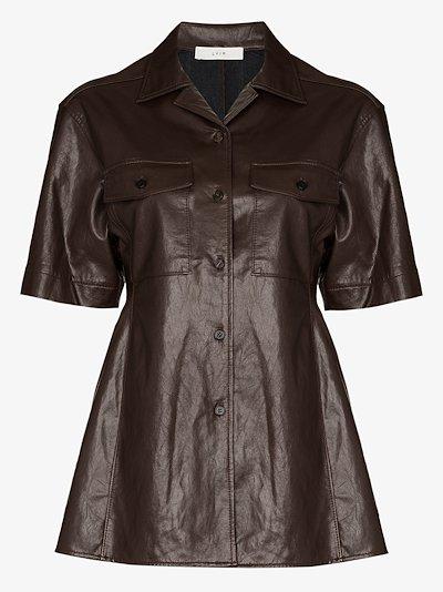 faux leather pocket shirt