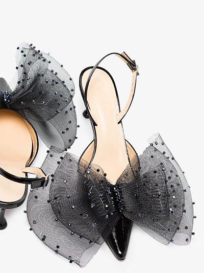 Black 65 Embellished Bow Slingback Pumps