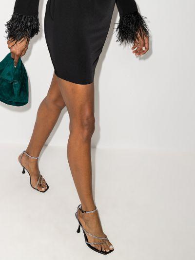 black 105 crystal leather sandals