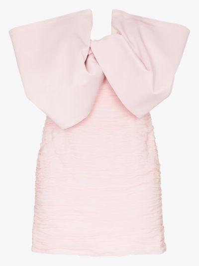 ruched bow silk mini dress