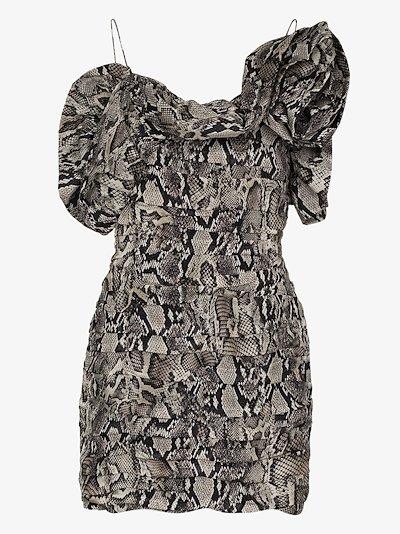 ruffled snake print silk mini dress