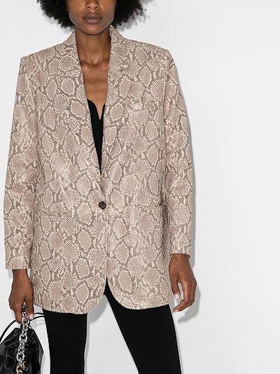 snake print leather blazer