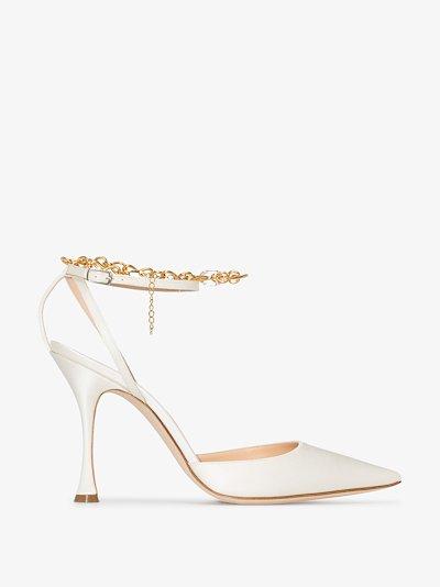 White 105 anklet satin pumps