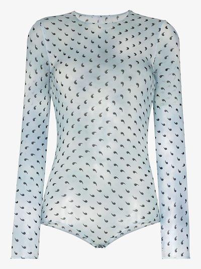 apostrophe print silk bodysuit