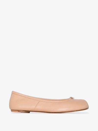 beige tabi leather ballet pumps
