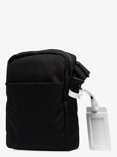 black 4-stitches cross body bag