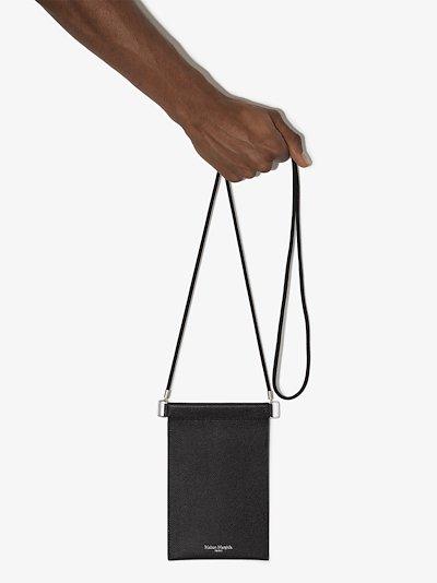 black 4-stitches leather phone bag