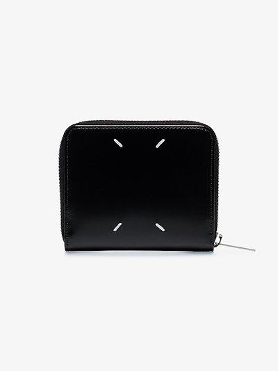 black 4-stitches zip-around small leather wallet