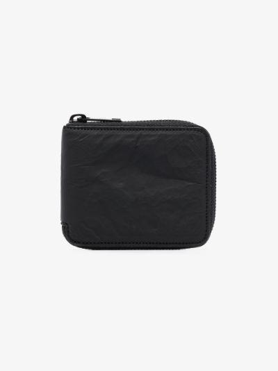 black crinkle effect leather wallet