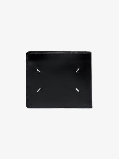 black four-stitch bifold leather wallet