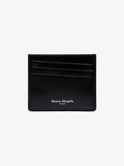 black four-stitch leather card holder