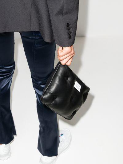 black Glam Slam padded leather clutch bag