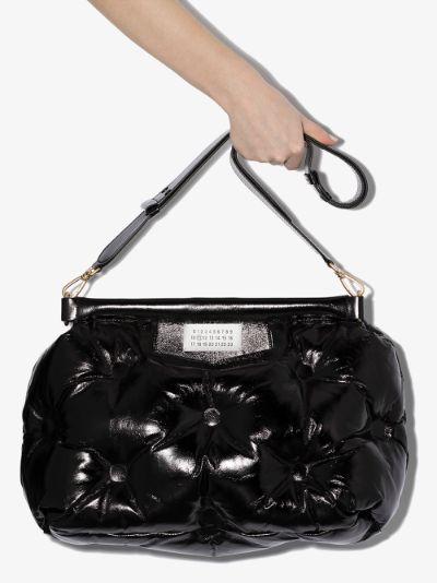 black Glam Slam padded leather shoulder bag