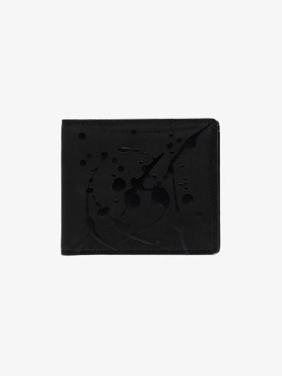 black paint splatter leather wallet