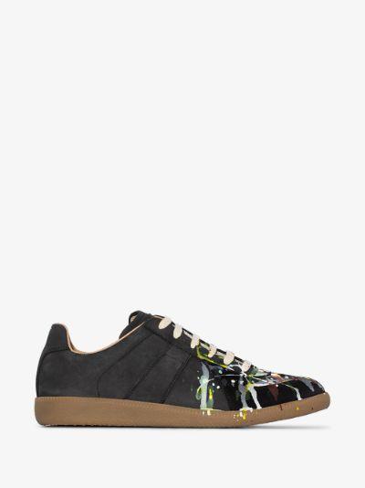 Black Replica Paint Splatter Leather Sneakers