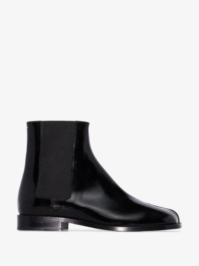 black Tabi leather chelsea boots