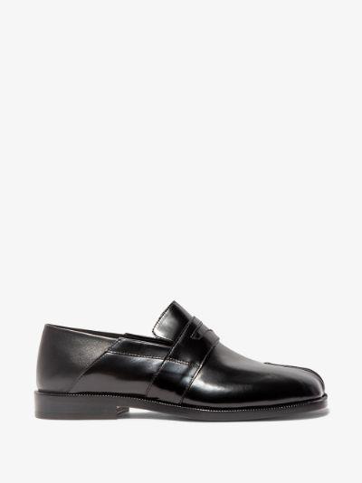 black Tabi leather loafers