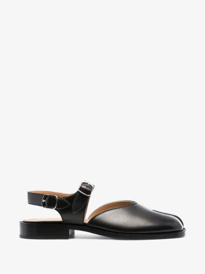 black Tabi leather sandals