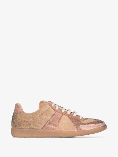 brown Replica distressed suede sneakers