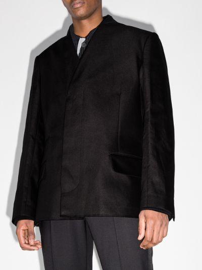 collarless linen blazer