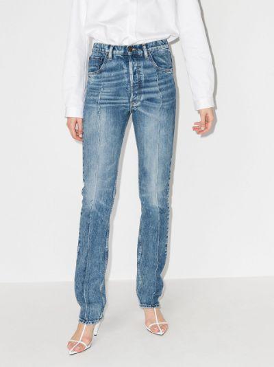 distressed seam straight leg jeans