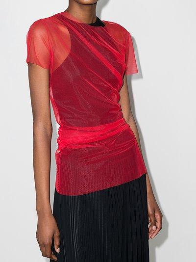 draped mesh T-shirt