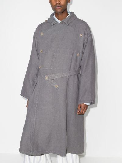 herringbone linen trench coat