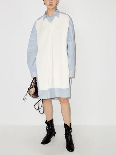 knitted panel shirt dress