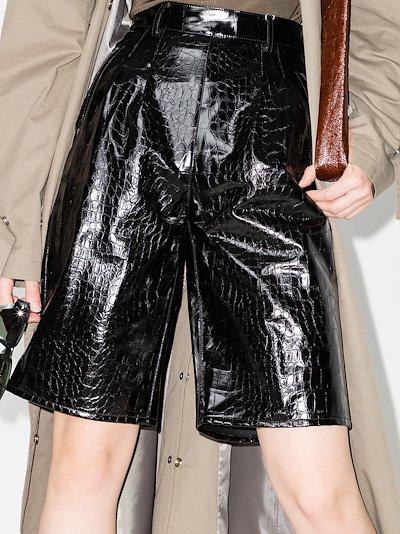mock croc faux leather shorts