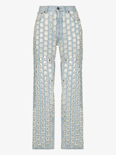 punch-hole detail denim jeans