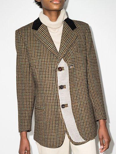 slit houndstooth blazer