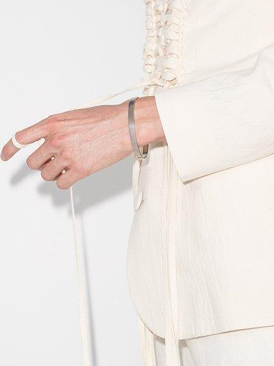 sterling silver engraved logo cuff bracelet